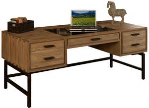 furniture unfinished wood desk with partial glass top and