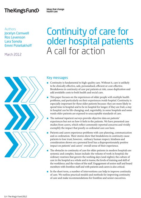 Bcbsnc Continuity Of Care Form by Continuity Of Care For Older Hospital Patients The King