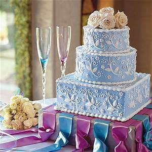 ornamented square blue white cake boss wedding cake | iPunya