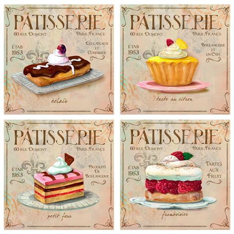 patisserie bakery wall decal set vintage style home decor bundle