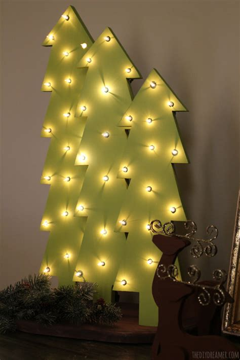 wooden christmas trees  lights rustic christmas