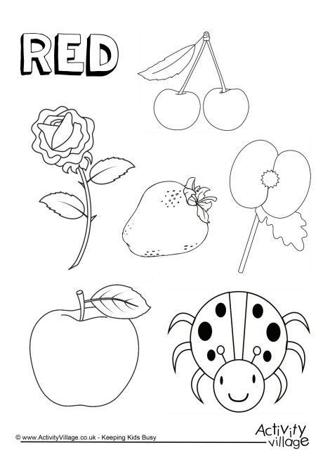 red  colouring page colors color worksheets