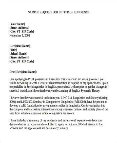 request for letter of recommendation 5 sle academic reference letters sle templates 27549