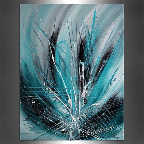 abstrakte grosse kunst gemaelde petrol tuerkis smaragd auf
