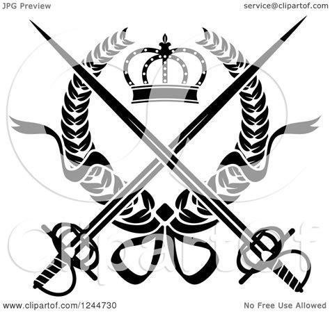 clipart   black  white crown  crossed swords