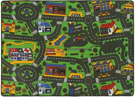 tapis chambre enfants tapis de jeu circuit voiture ville 145 x 200 cm