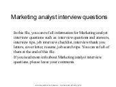 Marketing Analyst Questions by Marketing Analyst Questions