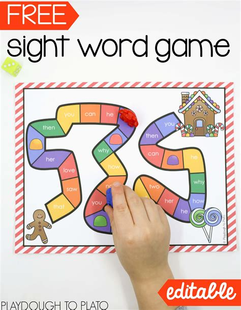 gingerbread sight word playdough to plato 419 | Free gingerbread sight word game
