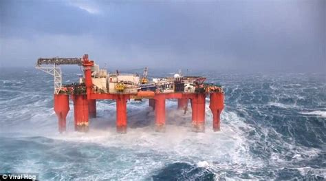 north sea oil rig stays afloat  massive storm