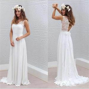 chiffon lace simple beach cheap open back beautiful With simple but beautiful wedding dresses