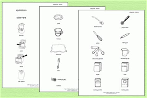 Category Picture Cards Kitchen Theme Speech Therapy Ideas