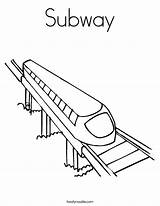 Coloring Subway Train Tunnel Template Noodle Twisty Station Amtrak Buzz sketch template