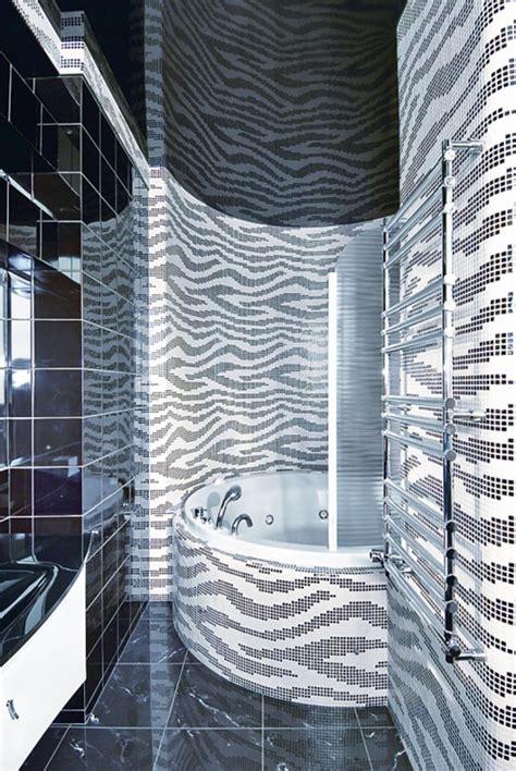 black white stripe animal print mosaic tiles bathroom my