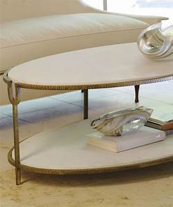 Iron and stone oval coffee table transitional coffee for Stone and iron coffee table