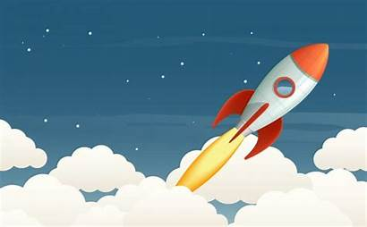 Rocket Launching Illustration Launch Background Vector Sky