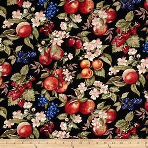 Avignon Fruit & Flowers Black - Discount Designer Fabric