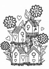 Coloring Garden Pages Flower Bird Gardens Birdhouse Colouring Houses Adult Printable Flowers Drawing Adults Gardening Alexander Tocolor Books Printables Paper sketch template
