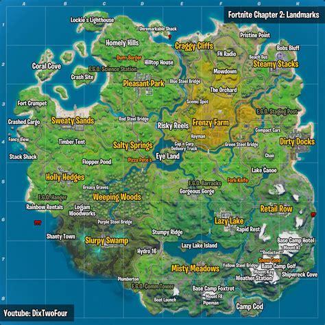 fortnite landmarks  map locations visit landmarks