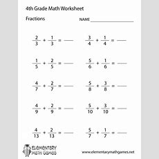 Fourth Grade Learning Fractions Worksheet