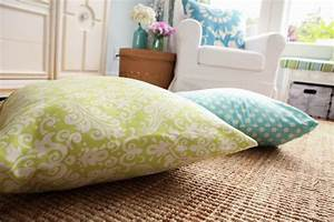 diy giant floor pillows the happy housie With how to make a floor pillow