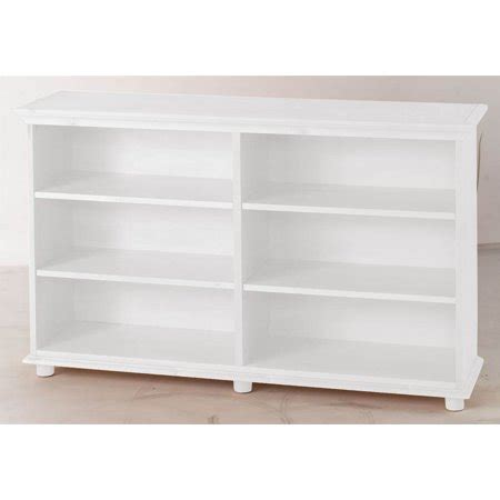 walmart bookshelf white 6 shelf low bookcase w crown base in white