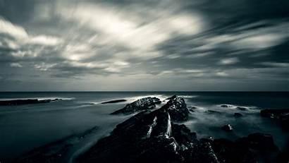 Sky Water Dark Gloomy Rocks 4k Background