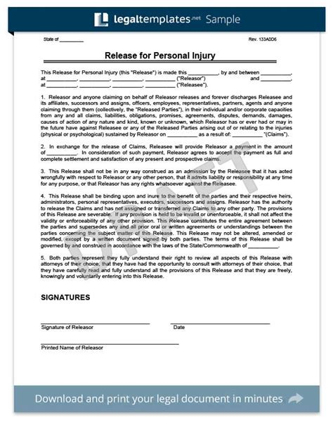 release  liability form sample waiver form
