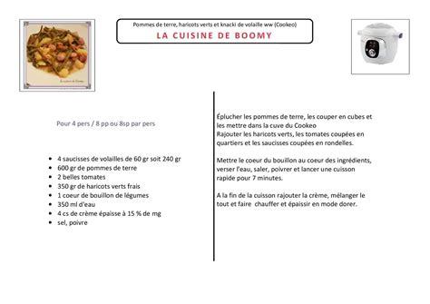 recette de cuisine gratuite pommes de terre haricots verts et knacki de volaille ww