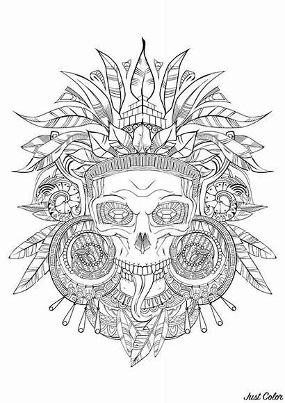 Aztec Coloring Pages Skull Adults Incas Inca