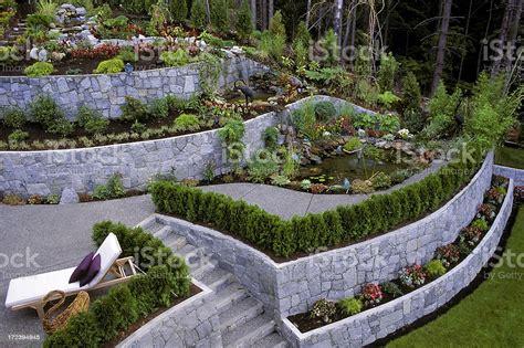 landscaped garden retaining wall stock photo istock