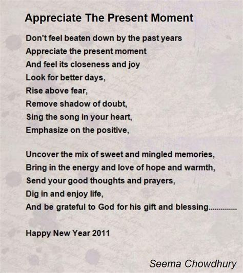 present moment poem  seema chowdhury