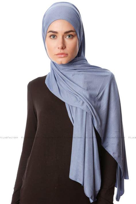 hijab jersey premium melek indigo stretch jersey shawl  ecardin