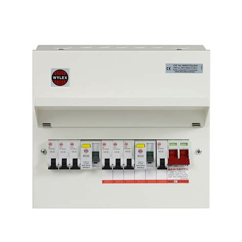 wylex 100a 7 way metal high integrity dual rcd populated consumer unit departments diy at b q