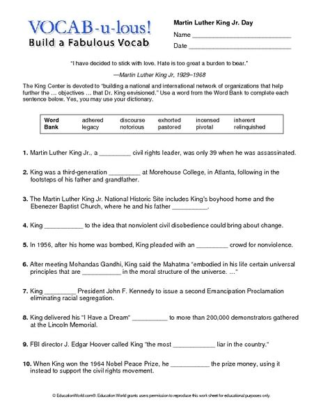 Free Martin Luther King Worksheets For 5th Grade  Search Results Education Mlk Daymartin Luther