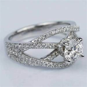 Double Cross Split Shank Diamond Engagement Ring  0 91 Ct