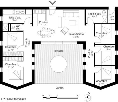 plan maison 6 chambres plain pied plan maison en u plain pied ventana