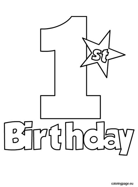 st birthday coloring page coloring page