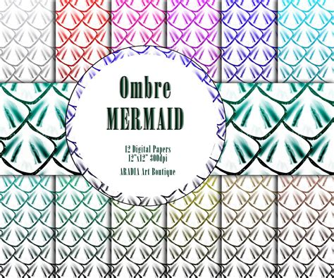 Ombre Rainbow Mermaid Digital Paper Scales Paper Glitter