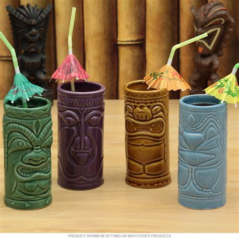 Hawaiian Tiki Gods Mug Set   Tiki Cocktail Glasses