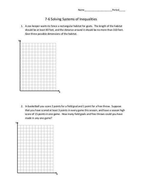 systems of inequalities word problems worksheet 7 6 systems of inequalities word problems