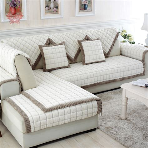 plaid canapé ikea aliexpress com buy white grey plaid sofa cover plush
