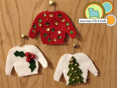 ugly sweater felt christmas ornaments hipster week