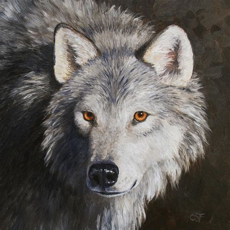 wolf portrait painting  crista forest