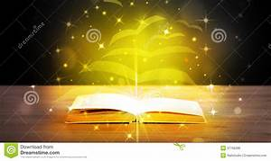 Open Book With Golden Glow Flying Paper Pages Royalty Free ...