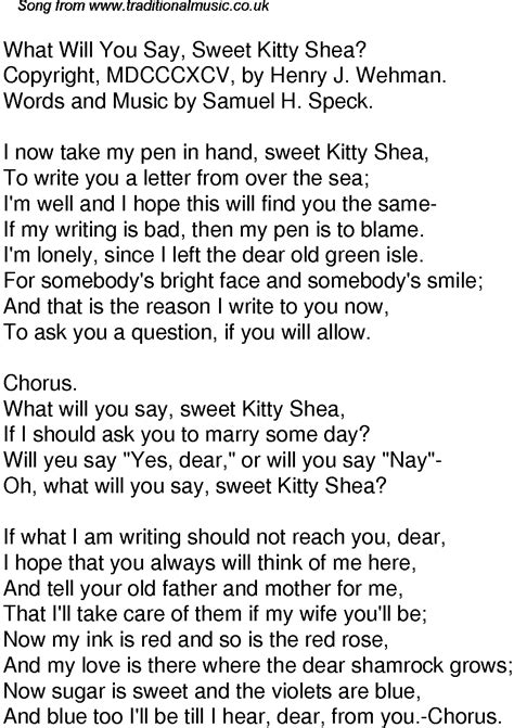 Old Time Song Lyrics For 48 What Will You Say Sweet Kitty Shea