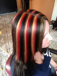Brown hair with red and blonde highlights | Hair Ideas ...