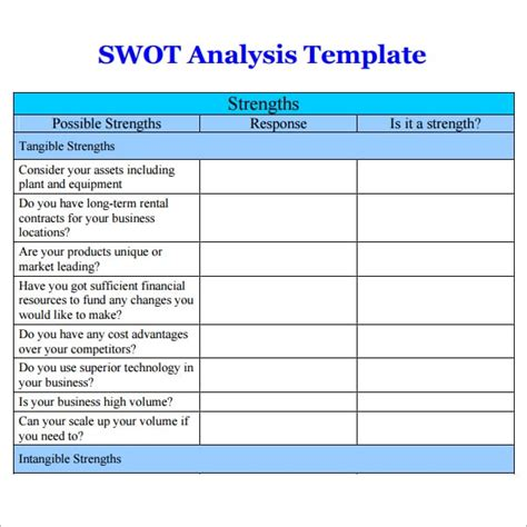 swot analysis templates word excel  templates