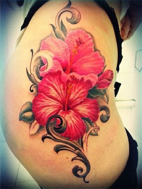 top  hibiscus tattoos  thigh   style