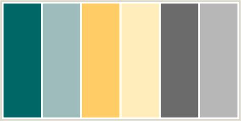 what colour scheme goes with grey colorcombo207 with hex colors 006666 9dbcbc ffcc66 ffeebb 6b6b6b b7b7b7