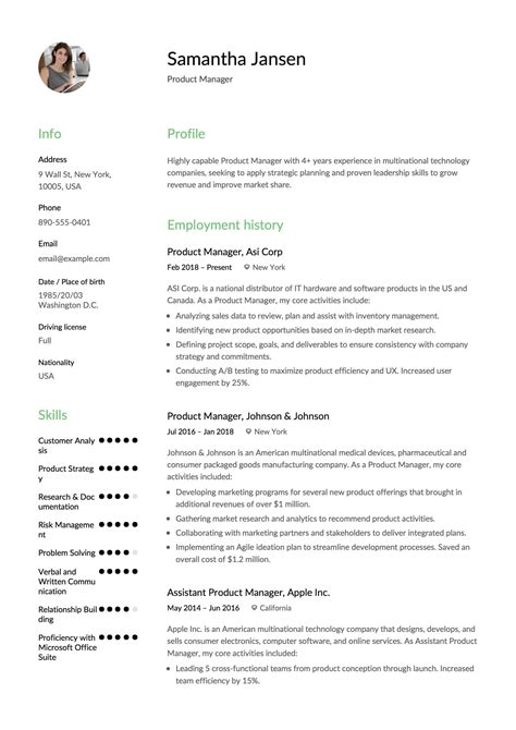 product manager resume resume  samples